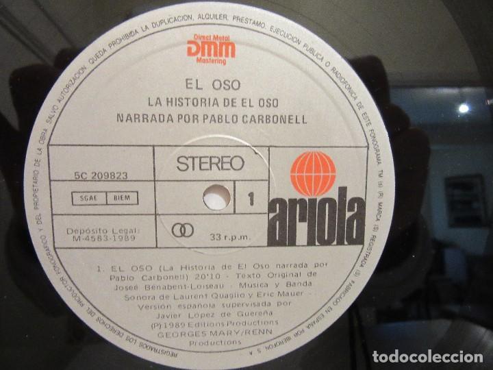 Discos de vinilo: El Oso - Narrado Por Pablo Carbonell - Jean Jacques Annaud - Encarte - 1989 - VG+/VG+ - Foto 5 - 80733002