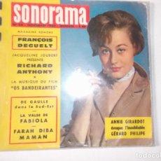 Discos de vinilo: SONORAMA REVISTA 1960 CON VARIOS FLEXIDISCOS RICHARD ANTHONY FRANCOIS DEGUELT. Lote 80734958