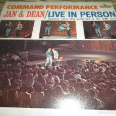 Discos de vinilo: JAN & DEAN - LIVE IN PERSON COMMAND PERFORMANCE LP - ORIGINAL U.S.A. - LIBERTY 1965 - MONOAURAL -. Lote 80776758