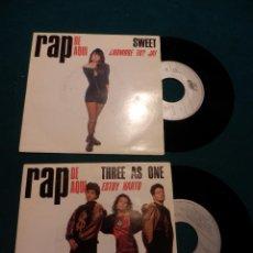 Discos de vinilo: RAP DE AQUI - SWEET - ¿HOMBRE TU? JA! / THREE AS ONE - ESTOY HARTO - - SINGLE VINILO. Lote 80842491