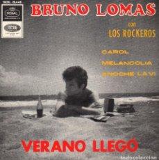 Discos de vinilo: BRUNO LOMAS CON LOS ROCKEROS, EP, CAROL + 3, AÑO 1965. Lote 80927000