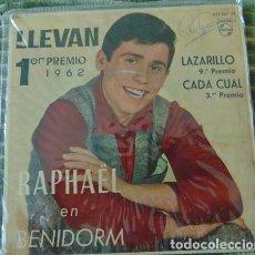 Discos de vinilo: RAPHAEL - LLEVAN + 3 - EP PHILIPS 1962. Lote 80961192