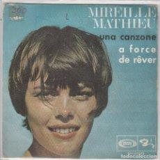 Disques de vinyle: MIREILLE MATHIEU / UNA CANZONE / A FORCE DE REVER (SINGLE 1968). Lote 81198788