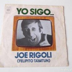 Discos de vinilo: JOE RIGOLI - YO SIGO.... Lote 81295220