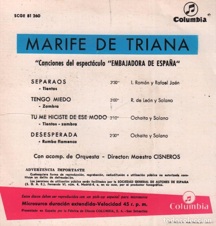 Discos de vinilo: MARIFE DE TRIANA - SEPARAOS / TENGO MIEDO / TU ME HICISTE DE ESE MODO...EP COLUMBIA RF-4749 - Foto 2 - 236084690