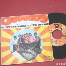 Discos de vinilo: CANARIOS - GET ON YOUR KNEES / TRYING SO HARD. Lote 82216224