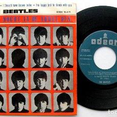 Discos de vinilo: THE BEATLES - A HARD DAY'S NIGHT +3 - 1A EDICION LABEL VERDE - EP ODEON 1964 BPY. Lote 82465804
