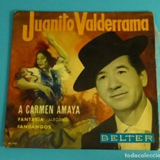 Discos de vinilo: JUANITO VALDERRAMA. A CARMEN AMAYA. BELTER. Lote 82494112