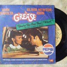 Dischi in vinile: DISCO DE VINILO 45 RPM - BSO GREASE MÚSICA PELÍCULA CINE TRAVOLTA OLIVIA NEWTON JOHN ROCK (REF-1AC). Lote 255420235