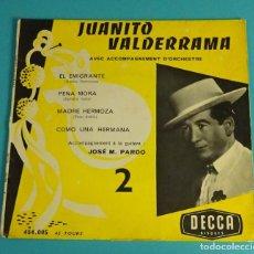 Discos de vinilo: JUANITO VALDERRAMA. EL EMIGRANTE - PENA MORA - MADRE HERMOZA - COMO UNA HERMANA. DECCA. Lote 82642540