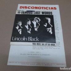 Discos de vinilo: LINCOLN BLACK (SN) FAMOUS LAST WORDS AÑO 1970 – EDICION PROMOCIONAL + HOJA PROMOCIONAL. Lote 82785728
