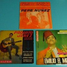 Discos de vinilo: PEPE NUÑEZ. EMILIO EL MORO. PAQUITO JEREZ. Lote 83054792