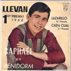 Discos de vinilo: RAPHAEL / LLEVAN - LAZARILLO - CADA CUAL - INMENSIDAD (SG) 1962 (PHILIPS). Lote 83143400