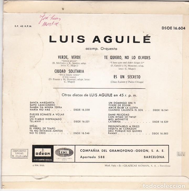 Discos de vinilo: SINGLE LUIS AGUILÉ. verde, verde 1964 SPAIN (DISCO PROBADO Y BIEN) - Foto 2 - 83187500