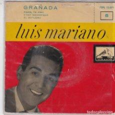 Discos de vinilo: SINGLE LUIS MARIANO. GRANADA. 1957 SPAIN DISCO PROBADO Y EN BUEN ESTADO. Lote 83344452