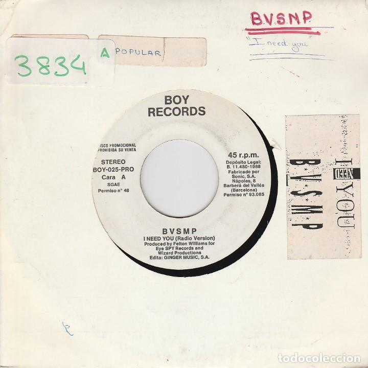 BVSMP / I NEED YOU + INSTRUMENTAL (SINGLE PROMO 1988) (Música - Discos - Singles Vinilo - Rap / Hip Hop)