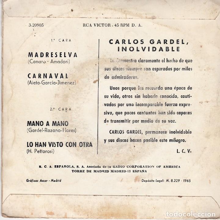 Discos de vinilo: single carlos gardel. madreselva. 1965 spain. disco probado y bien. - Foto 2 - 83401540