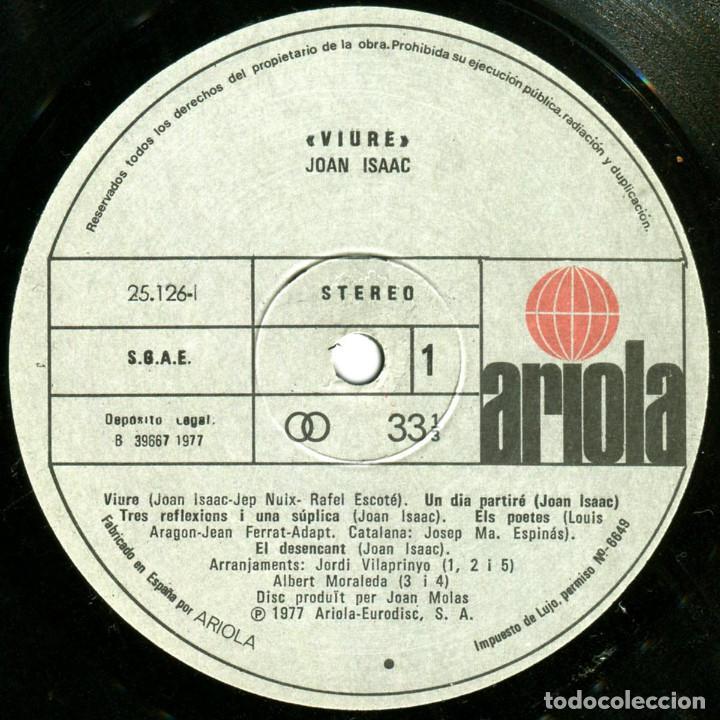 Discos de vinilo: Joan Isaac - Viure - Lp Spain 1977 - Ariola 25 126 - Foto 5 - 83413816