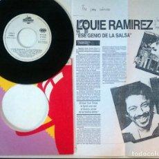 Discos de vinilo: LOUIE RAMÍREZ Y LA SUPERBANDA. FEO PERO SABROSO/ AYER LA VI LLORAR. MANZANA, SPAIN 1990 PROMOCIONAL. Lote 83511200