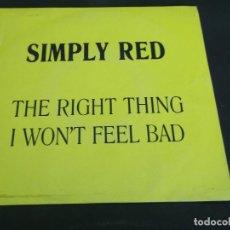 Discos de vinilo: SIMPLY RED - THE RIGHT THING ( POR DETRÁS AS GIRAS DE ESPAÑA RARO Y ÚNICO EN TC ). Lote 83552480