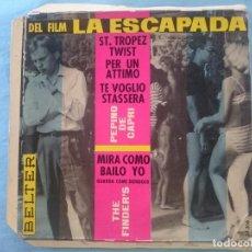 Discos de vinilo: SOLO PORTADA DELANTERA SIN DISCO DENTRO -- DEL FILM LA ESCAPADA -VER FOTOS -REFM1E3. Lote 83752796