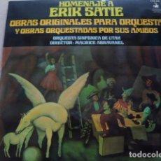 Discos de vinilo: ERIK SATIE. MAURICE ABRAVANEL CONDUCTING THE UTAH SYMPHONY OORCHESTRA. HOMENAJE A ERIK SATIE. Lote 83785516
