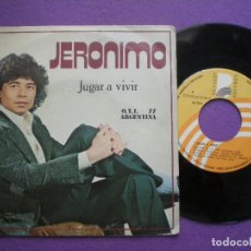 Discos de vinilo: JERONIMO - JUGAR A VIVIR +1- SG BEBERLY 1977 // FESTIVAL O.T.I. OTI 77 ARGENTINA JAVIER ITURRALDE. Lote 84119360
