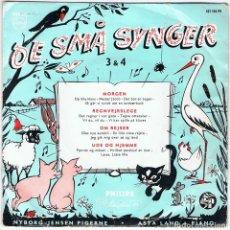Discos de vinilo: DE SMA SYNGER - MORGEN / REGNVEJRSLEGE / OM REJSER / UDE OG HJEMME - PHILIPS. Lote 115173967