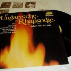 Discos de vinilo: LISZT - UNGARISCHE RHAPSODIE LP-1975 SHURA CHERKASKY · KARAJAN. Lote 84638008