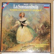Discos de vinilo: BELLINI - LA SONNAMBULA - SUTHERLAND - PAVAROTTI - CAJA CON 3 LP + LIBRETO. Lote 84644220