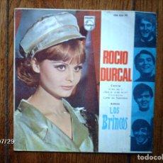 Discos de vinilo: ROCIO DURCAL - CREO EN TI + ¡ QUE VA A SER DE MI ! + CONTENTO + CARTEL DE PUBLICIDAD . Lote 84715084