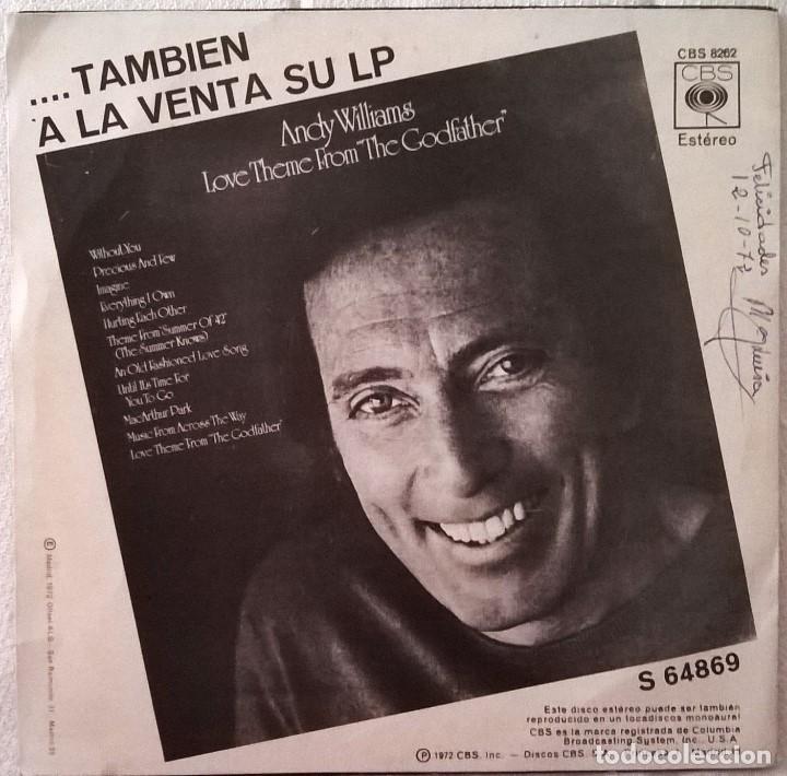 Discos de vinilo: Andy Williams-Canta En Español-Tema De Amor De La Película El Padrino (Amor Háblame Dulcemente) - Foto 2 - 84938036