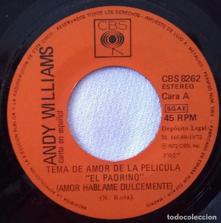 Discos de vinilo: Andy Williams-Canta En Español-Tema De Amor De La Película El Padrino (Amor Háblame Dulcemente) - Foto 4 - 84938036
