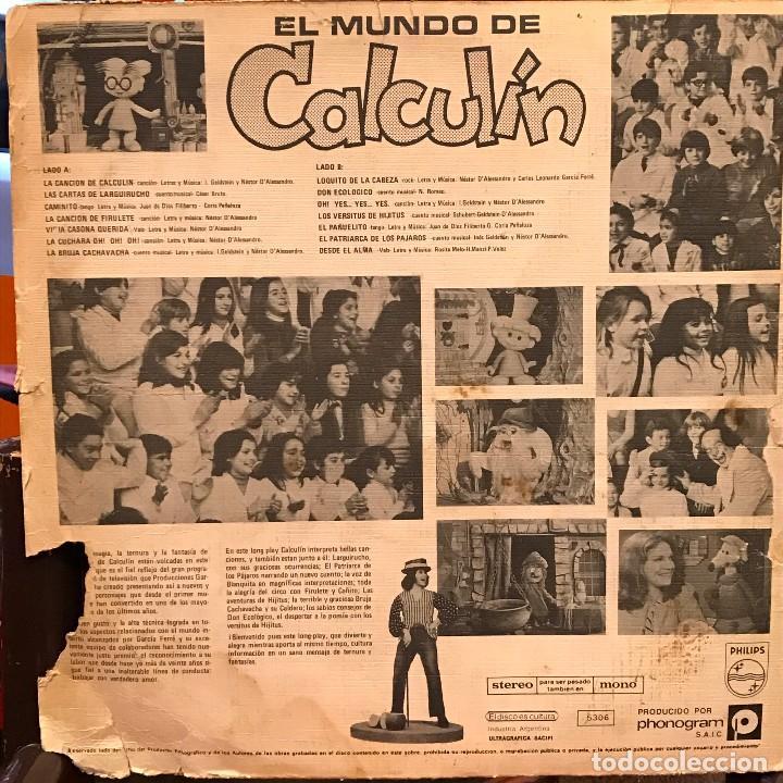 Discos de vinilo: LP argentino El mundo de Calculín año 1976 - Foto 2 - 85176988
