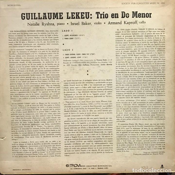 Discos de vinilo: LP argentino de Ryshna, Baker y Kaproff año 1958 - Foto 2 - 85177336