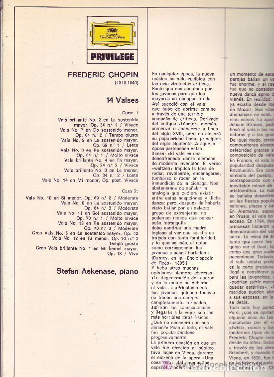 Discos de vinilo: CHOPIN LO 14 VALSES PIANO STEFAN ASKENASE - Foto 2 - 85211508