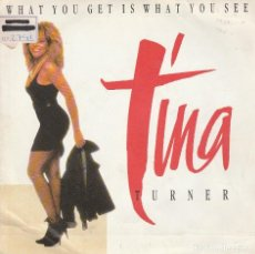 Disques de vinyle: TINA TURNER / WHAT YOU GET IS WHAT YOU SEE / VERSION LIVE (SINGLE PROMO 1987). Lote 85277300