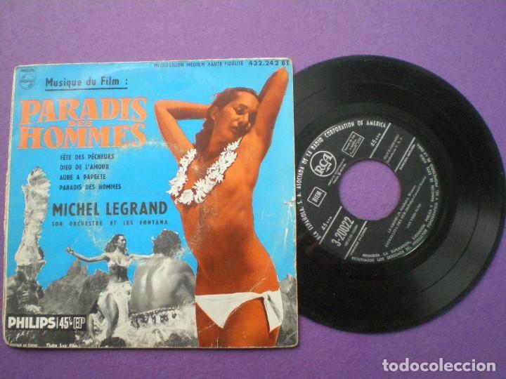PARADIS DES HOMMES -- MICHEL LEGRAND -EP FRANCES RCA 1950S // CHEESECAKE SEXY NUDE COVER (Música - Discos de Vinilo - EPs - Bandas Sonoras y Actores)