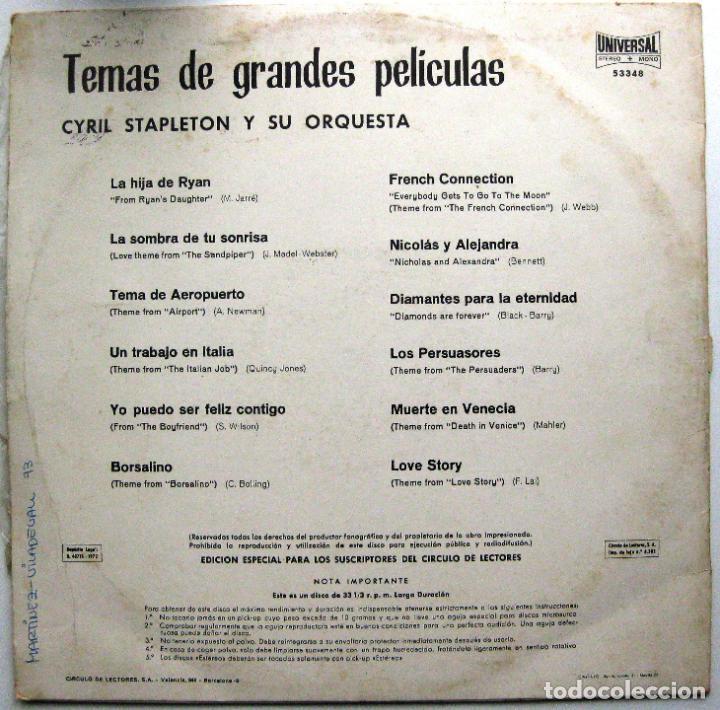Discos de vinilo: Cyril Stapleton Y Su Orquesta - Temas De Grandes Peliculas - LP Orlador / Universal 1972 Círculo BPY - Foto 2 - 85514928