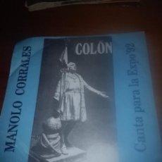 Discos de vinilo: MANOLO CORRALES. COLÓN . CANTA PARA LA EXPO 92. MB3. Lote 85693472
