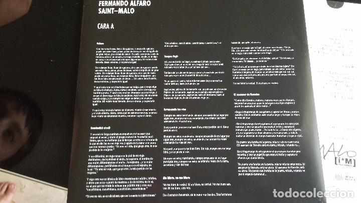 Discos de vinilo: LP FERNANDO ALFARO: SAINT-MALO (FIRMADO Y DEDICADO POR ALFARO) - Foto 4 - 85909660