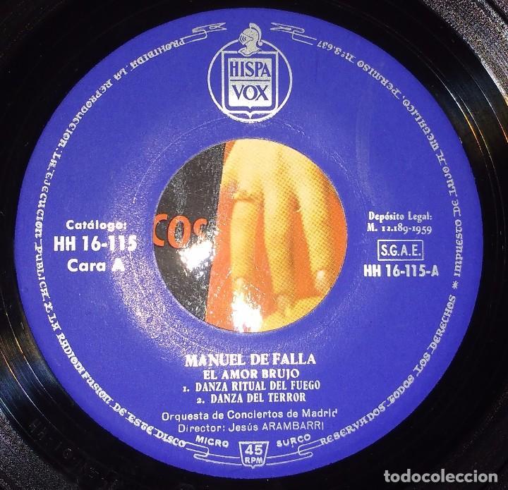 Discos de vinilo: MANUEL DE FALLA VOL.1 - EL AMOR BRUJO, EL SOMBRERO DE TRES PICOS - DIRECTOR: JESÚS ARAMBARRI - EP - Foto 3 - 85939628