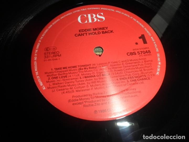 Discos de vinilo: EDDIE MONEY - CAN´T HOLD BACK LP - ORIGINAL HOLANDA - CBS 1986 CON FUNDA INT. ORIGINAL MUY NUEVO(5) - Foto 8 - 86008464