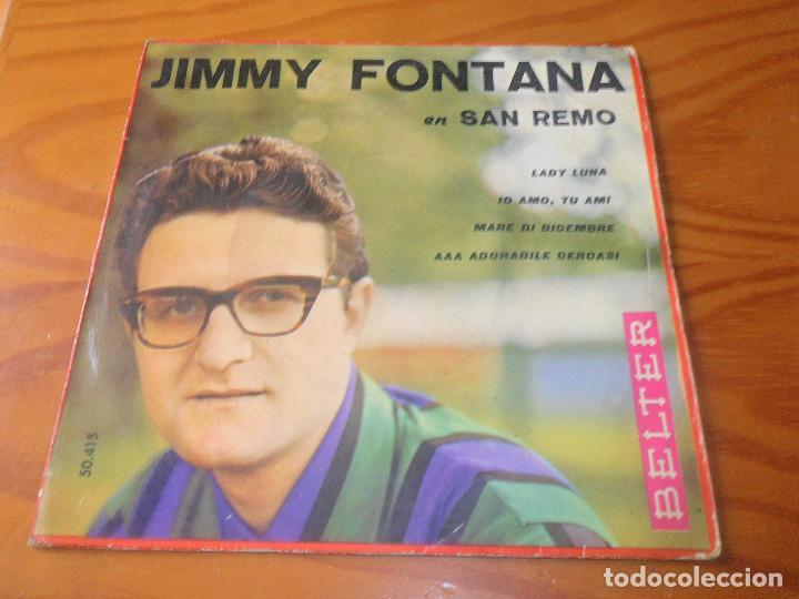 JIMMY FONTANA EN SAN REMO 1961 EP- LADY LUNA/ IO AMO TU AMI/ AAA ADORABILE CERCASI +1 (Música - Discos de Vinilo - EPs - Otros Festivales de la Canción)