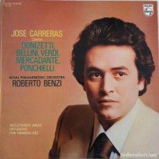 Discos de vinilo: JOSE CARRERAS. CANTA DONIZETTI, VERDI, BELLINI, MERCADANTE... ROBERTO BENZI. LP ESPAÑA CON ENCARTE . Lote 86257112