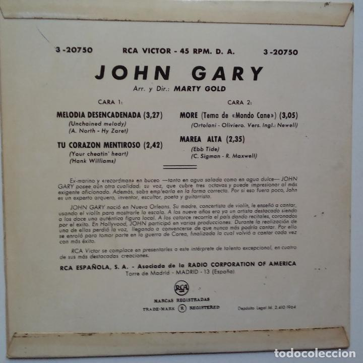 Discos de vinilo: JOHN GARY- MELODIA DESENCADENADA (UNCHAINED MELODY) + 3- SPANISH EP 1964- VINILO EXC. ESTADO. - Foto 2 - 86275336
