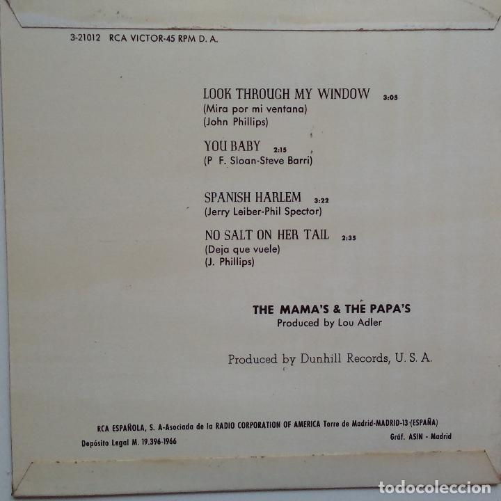 Discos de vinilo: THE MAMAS & THE PAPAS- LOOK THROUGH MY WINDOW +3- SPANISH EP 1966- VINILO EXC. ESTADO. - Foto 2 - 86278980