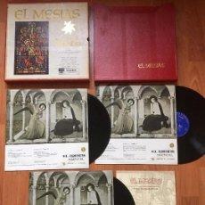 Discos de vinilo: EL MESIAS .. GEORGE FREDERICK HAENDEL . DIRECTOR SIR MALCOLM SARGENT ESTUCHE CON LIBRETO TRES LP. Lote 86567516