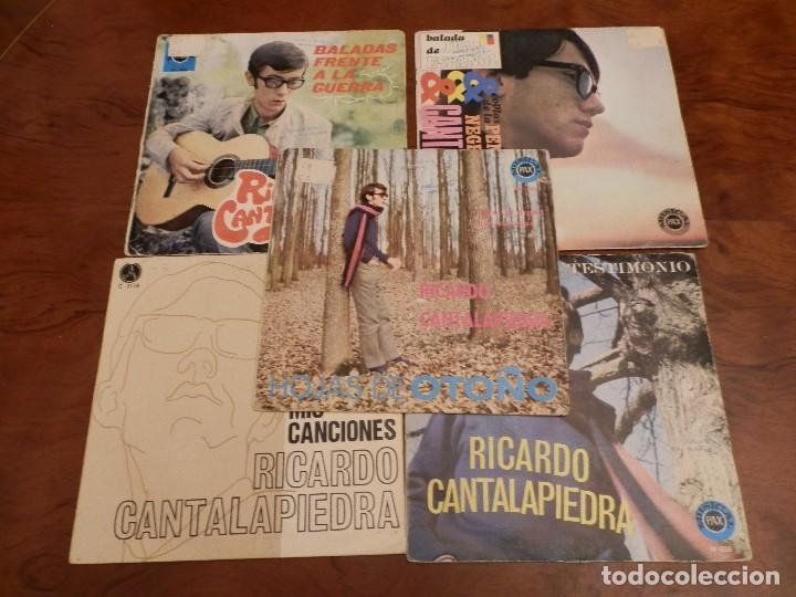 EP Y CUATRO SINGLES, RICARDO CANTALAPIEDRA.1968,FUNDAS USO, VINILOS NUEVOS. (Música - Discos de Vinilo - EPs - Cantautores Españoles)