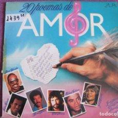 Discos de vinilo: LP - 20 POEMAS DE AMOR - VARIOS (VER FOTO ADJUNTA) (DOBLE DISCO, SPAIN, RCA 1985). Lote 86661640